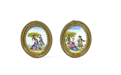 18th Century Pair of English Enamel Oval Plaques