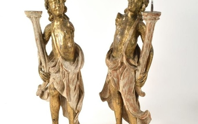 18th/19th Century Continental Carved and Gilt Pricket
