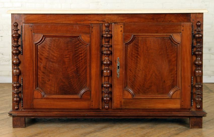 19TH C FRENCH STONE TOP MAHOGANY SIDEBOARD