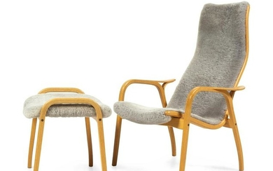 Yngve Ekstrom Lamino Lounge Chair and Ottoman Swedese,