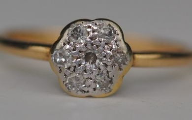 Diamond Cluster (0.14ct) - 18 kt. Platinum, Yellow gold - Ring