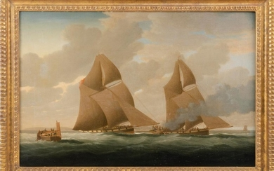 """AMERICAN SCHOOL, 19th Century, A naval engagement., Oil on canvas, 24"""" x 36"""". Framed 30"""" x 41""""."""