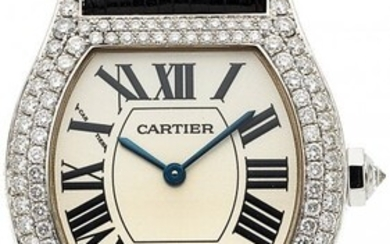 54025: Cartier, Tortue, Lady's White Gold And Diamond W
