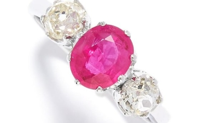 RUBY AND DIAMOND THREE STONE RING in platinum, set with