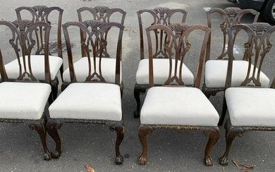 8 Queen Anne Style Claw Foot Dining Chairs