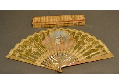 A 19th Century Mother of Pearl Fan, hand-painted with a cart...