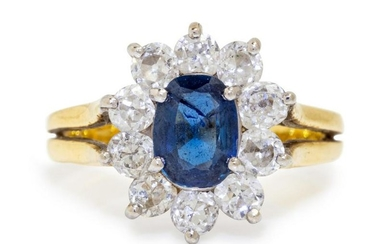 A Bicolor Gold, Sapphire and Diamond Ring,