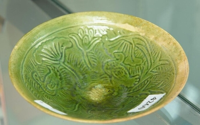 A CHINESE GREEN GLAZED EARTHENWARE BOWL