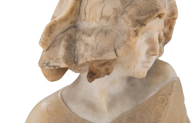 A Carved Alabaster Bust of a Woman (19th century)
