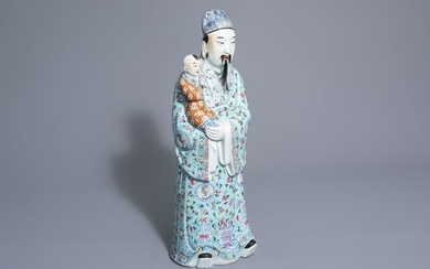A Chinese famille rose Fu Xing figure, 19th/20th...