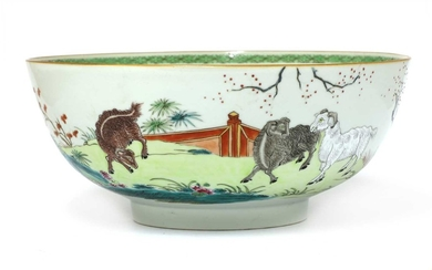 A Chinese famille rose punch bowl