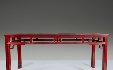 A Chinese red lacquered altar table H: 33, L:...