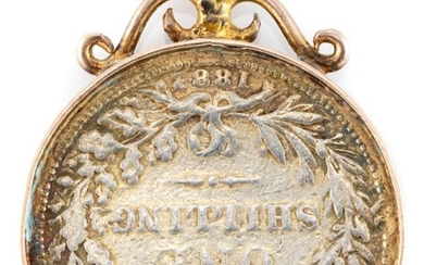 A GOLD FRAMED COIN PENDANT; 4mm wide frame with scroll surmount, tests 14ct gold, incasing an 1882 British shilling, wt. 7.89g.
