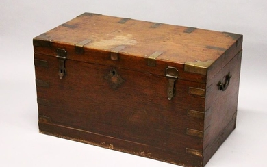 A GOOD 19TH CENTURY ANGLO INDIAN TEAK AND BRASS BOUND