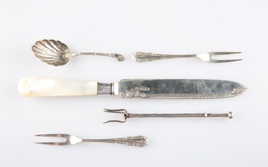 A GROUP OF SILVER, including a mother-of-pearl handled