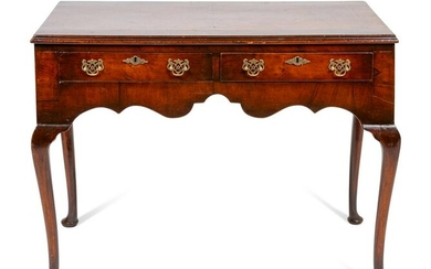 A George III Style Burl Walnut Dressing Table Height 30