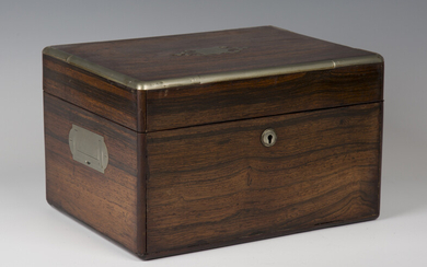 A George IV rosewood and nickel mounted travelling vanity case, the sides with recessed handles, the