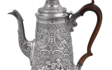 A George IV silver tapered coffee pot by John Page