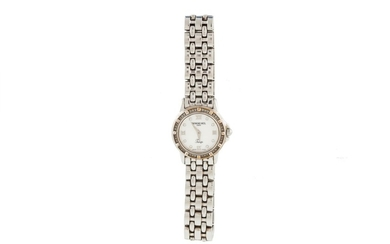 A LADY'S RAYMOND WEIL WRIST WATCH, diamond set, mother of pe...