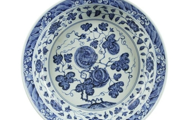 A LARGE CHINESE BLUE AND WHITE CHARGER, CHINA, QING