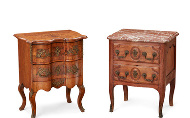 A Louis XV Inlaid Walnut Commode And a Louis XV Marble Top Oak Commode