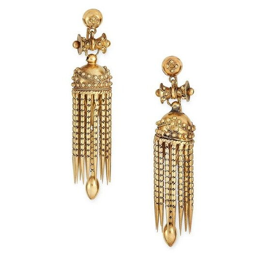 A PAIR OF ANTIQUE GOLD TASSEL EARRINGS, 19TH CENTURY in