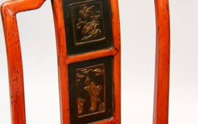 A PAIR OF CHINESE RED HARDWOOD & RED LACQUER CHAIRS