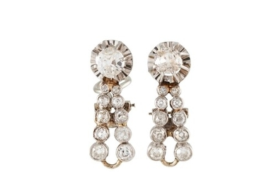 A PAIR OF DIAMOND CLUSTER EARRINGS, set with old cut diamond...