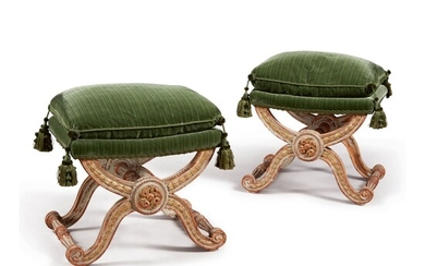 A PAIR OF LOUIS XVI STYLE GRAY-PAINTED AND PARCEL-GILT TABOURETS