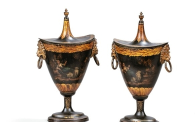A PAIR OF PAINTED METAL URNS AND COVERS, LATE 18TH CENTURY, PROBABLY ENGLISH | PAIRE D'URNES COUVERTES EN TÔLE PEINTE, TRAVAIL PROBABLEMENT ANGLAIS DE LA FIN DU XVIIIE SIÈCLE