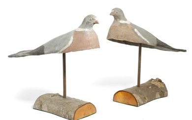 A PAIR OF PAINTED PAPIER-MACHE DECOY PIGEONS POSSIBLY...