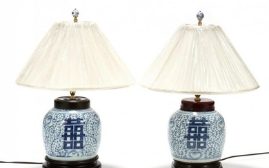 A Pair of Chinese Double Happiness Table Lamps