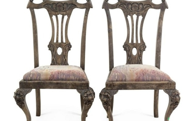 A Pair of Painted Chippendale Style Side Chairs