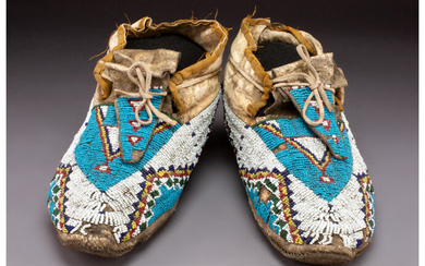A Pair of Sioux Beaded Hide Moccasins c. 1890...