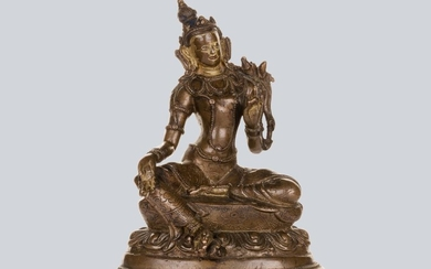 A Partly Gilt Copper Alloy Green Tara, Tibet 16th Century.