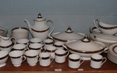 A Royal Doulton Harlow pattern part dinner, tea and coffee...