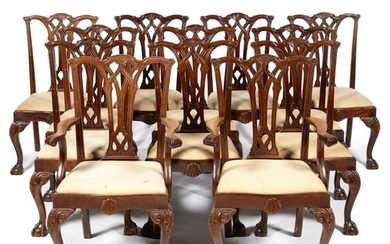 A SET OF TWELVE MAHOGANY DINING CHAIRS, 20TH C, WITH INTERLA...