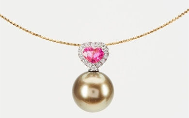 A TAHITIAN PEARL, SAPPHIRE AND DIAMOND PENDANT FEATURING A ROUND PEARL MEASURING 11.4MM, TO A HEART SHAPED PINK SAPPHIRE AND DIAMOND...