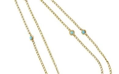 A TURQUOISE CHAIN NECKLACE, a rope-length