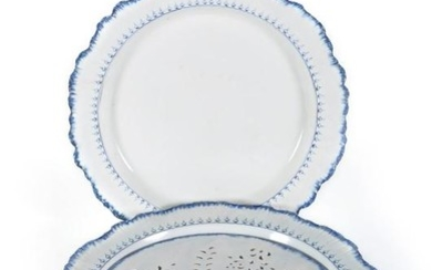 A Wedgwood 'Queen's Ware' round serving dish and pierced drainer