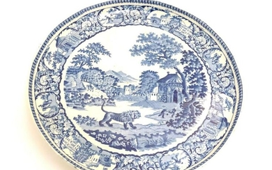 A blue and white pearlware cake stand decorated in the