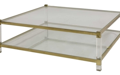 A brass and Lucite Italian coffee table