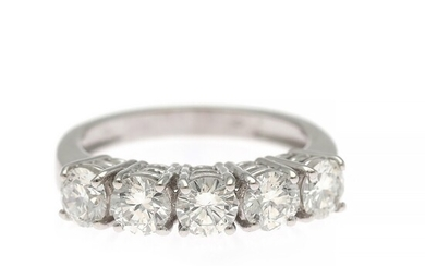 A diamond ring set with five brilliant and old brilliant-cut diamonds weighing a total of app. 1.90 ct., mounted in 18k white gold. Size 56.