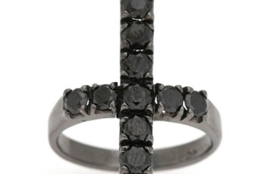 NOT SOLD. A diamond ring set with numerous black diamonds weighing a total of app....