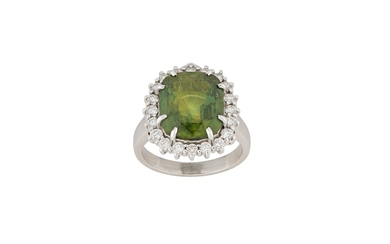 A green sapphire and diamond cluster ring