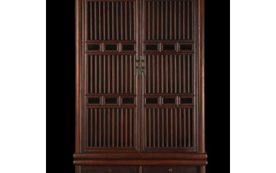 A hongmu wood cabinet on stand, the lower part with...