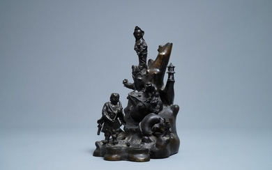 A large Chinese bronze group with Guanyin with...