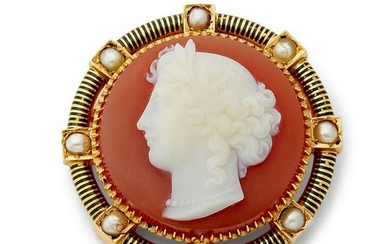 A Victorian hard stone cameo and split pearl brooch.