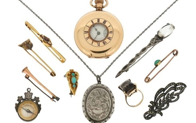 A mixed group of jewellery including a gold-plated...
