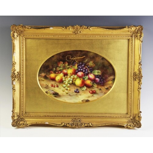 A pair of Royal Worcester porcelain plaques, hand painted by...